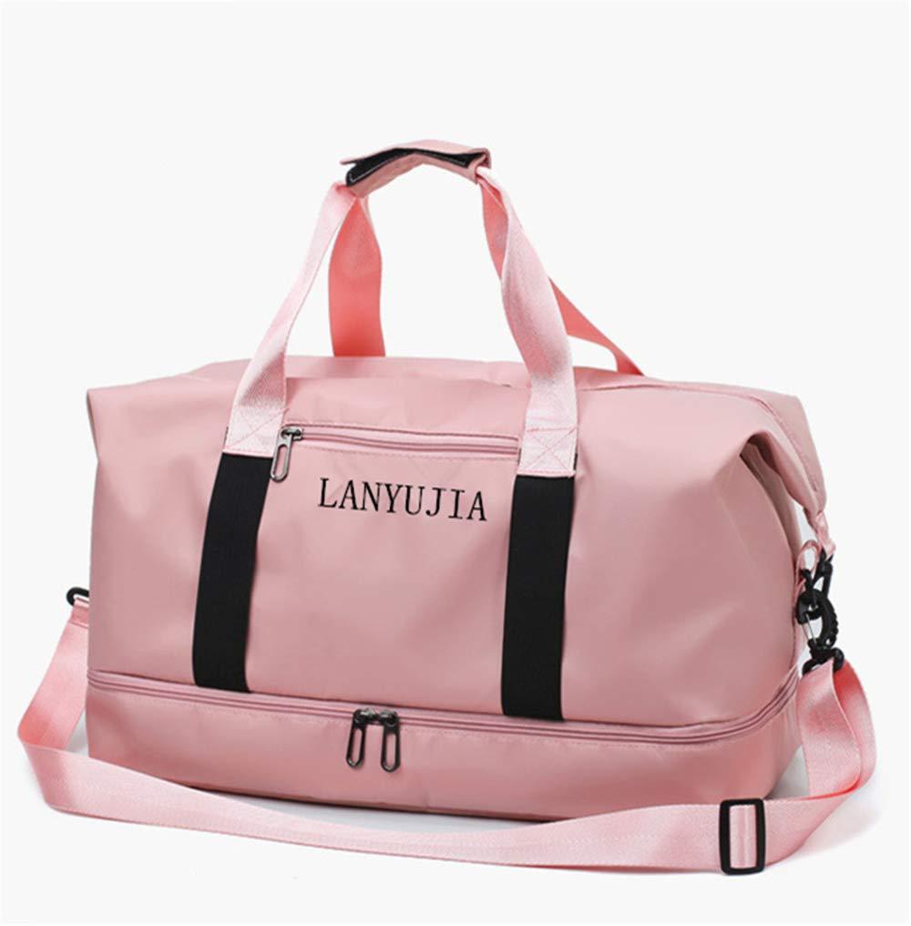 女性用大容量トラベルバッグシューズスポーツフィットネスバッグメンズショルダートラベルバッグダッフルバッグ(ピンク)