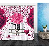 AYogg Cortina de Ducha Romantic Lovers Valentine Balloon Fabric Cortina de Ducha Set Baño Decoración Ganchos