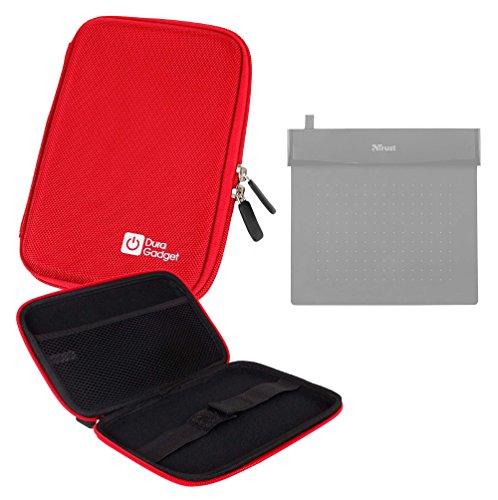 DURAGADGET Funda Rígida Rojo para Tableta Gráfica Trust Flex Design Ultra Thin and Flexible Black - con Cierre De Cremallera