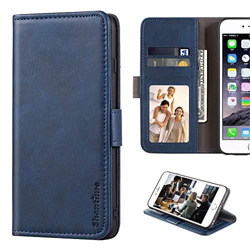 BQ Aquaris V Plus Funda de piel tipo cartera con ranuras para tarjetas y dinero en efectivo suave TPU Funda con tapa magnética para BQ Aquaris VS Plus (azul)