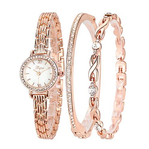 Clastyle Conjunto Reloj y Pulsera Mujer Delgado Elegante Relojes de Pulsera Oro Rosa Cristal con 2 Brazaletes Relojes para Mujer Moda Madreperla