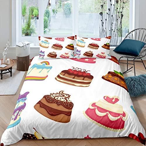 Funda de edredón para niños, diseño de tarta, diseño de dibujos animados, para niños, niñas, adolescentes, decoración de edredón, colorida y vibrante, tamaño individual