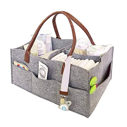 Gebuter Foldable Felt Storage Bag Baby Diaper Caddy Organizer Felt Dividers Pouch Newborn Nursery Room Storage Bin Tote Bag for Boys and Girls Changing Table Car Travel Organizers