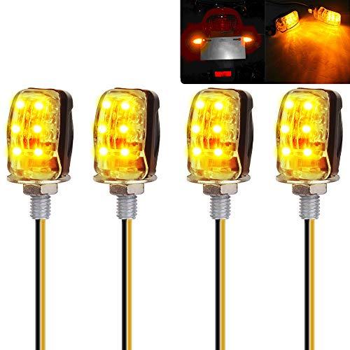 Yizhet 4 STK 6LED Microblinker, Mini-Motorrad-Blinker Universal Wasserdicht mit E-Mark Bernstein Licht für 12V LED Motorrad Blinkleuchte Blinker Lampe Signal leucht