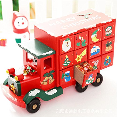 Legno Christmas Truck Calendario Countdown Candy Cassetto, Indexp Multifunzionale Crafts Home Decoration Ornamento Toy Gift Set