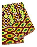 Gelber Kente-Stoff, 91 cm, afrikanischer Stoff von The
