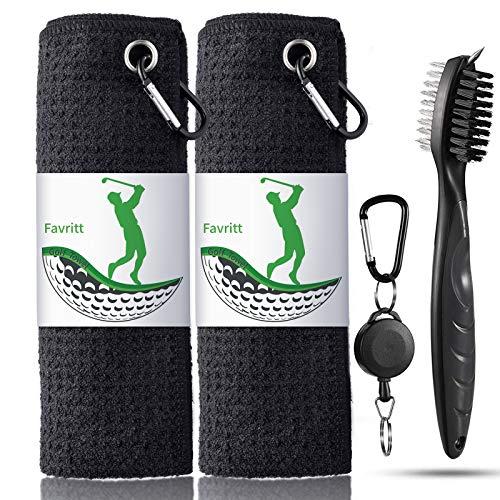 Favritt 3 Pack Golf Towel Golf Club Cleaner Set,Microfiber Fabric Waffle Pattern Towels,Heavy Duty Carabiner Clip (3Pcs)