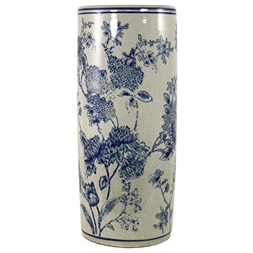 Geko Paragüero de cerámica con diseño de magnolia azul y blanco