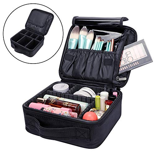 Poecent Travel Makeup Case,Portable Travel Makeup Cosmetic Case Organizer Makeup Train Case with Adjustable Dividers for Cosmetics Makeup Brushes Toiletry Jewelry Digital Accessories,1 Pack