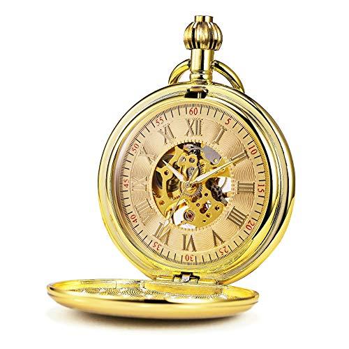 Treeweto Reloj de bolsillo para hombre con cadena de oro liso y envejecido