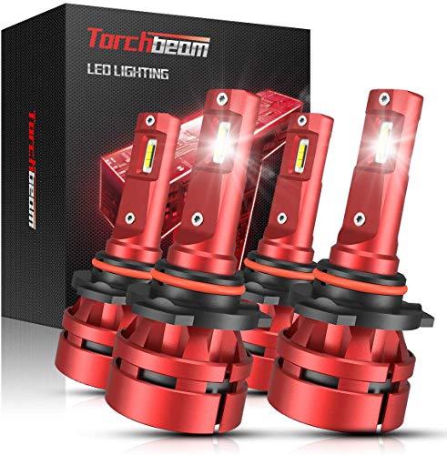 Torchbeam T2 9005 9006 LED Headlight Bulb Kit 14000 Lumens, 6500K Cool White, High Beam Low Beam, 400% Brightness, Compact Design, Replacement Bulbs, Pack of 4