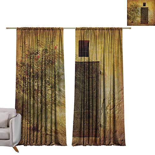 Print patroon Gordijnen voor kamer donkere panelen voor woonkamer slaapkamer rustieke, deuren van de oude rots huis met Franse frame details in landelijke Europese verleden thema groen