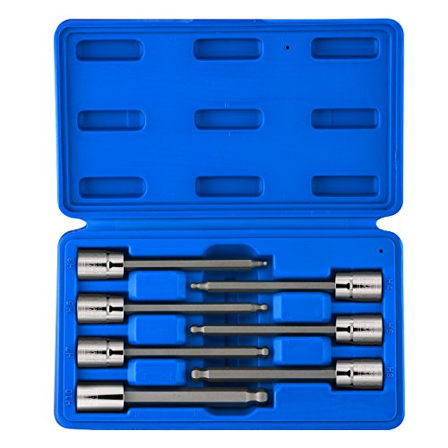 """NEIKO 10243A Extra Long Ball End Hex Bit   7pc Allen Socket Set   3mm to 10mm   S2 and Cr-V Steel   Metric   4-1/4"""" Length"""