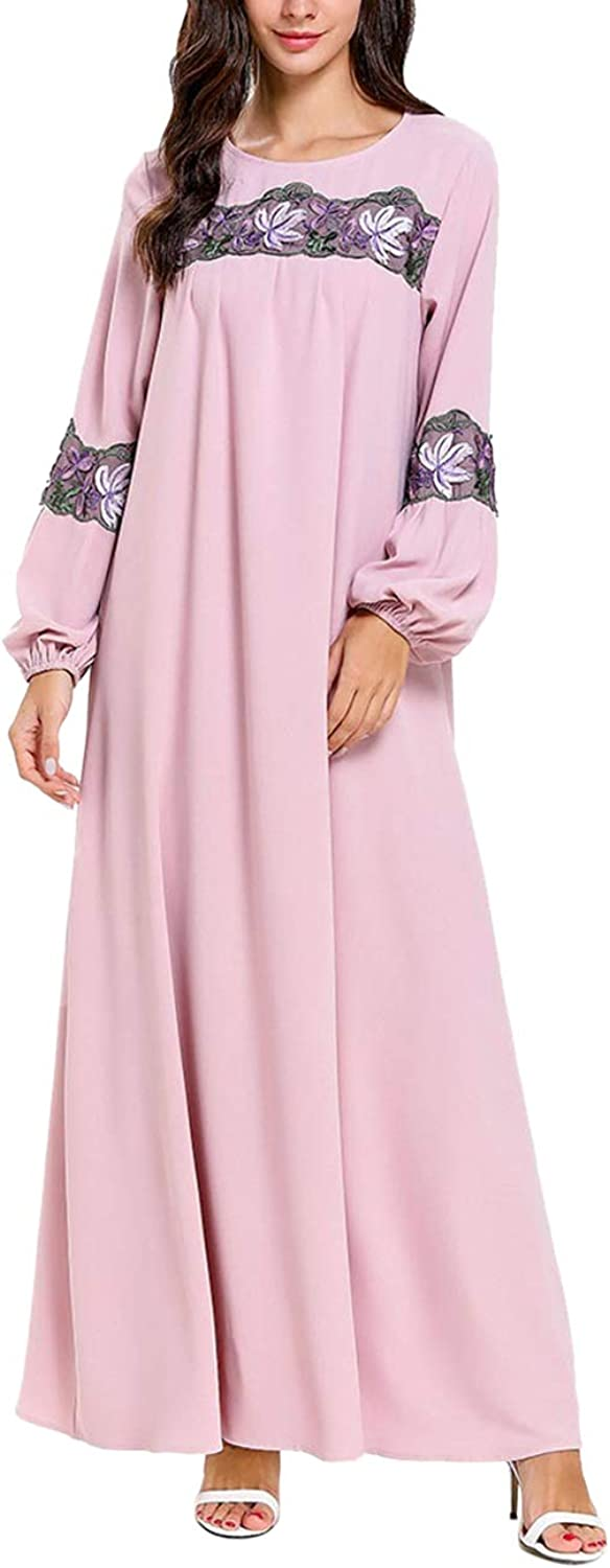 Zhhlinyuan Muslim Maxi Robe Women's Plus Size Tunic Swing Dress Long Sleeve Dress