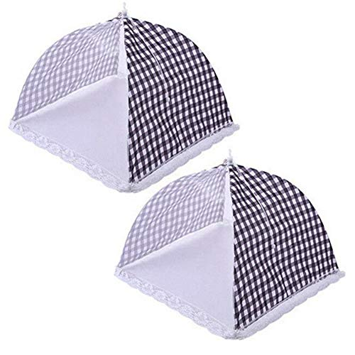 Fácil de almacenar 2 piezas de cocina cubrir la comida Carpa paraguas plegable al aire libre de la cubierta de la torta de picnic utensilios de cocina (Color : Black)