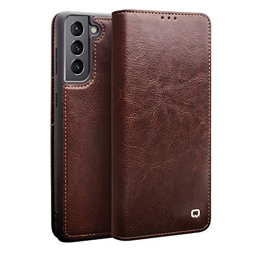 FHZXHY Schutzhülle für Samsung Galaxy S21 (15,7 cm / 6,2 Zoll), Rindsleder, echtes Leder, ultradünn, Klappetui, Brieftasche, Kartenfächer, Handyschutzhülle für Samsung Galaxy S21 5G, Braun