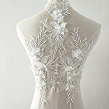 beaded flower sequence lace applique motif sewing bridal wedding 3in1 A5 3D (White)