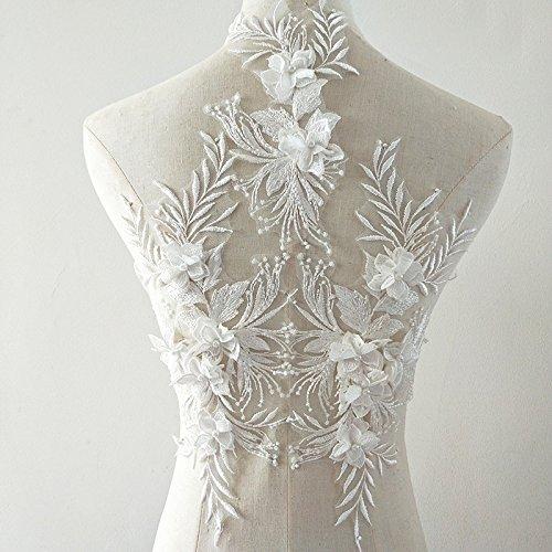 Beaded Flower Patches Sequin Applique lace Fabric Trim Motif Sewing Bridal Wedding Vintage A5 3D (White)