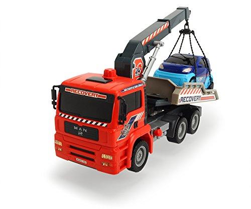 Dickie Toys Air Pump Crane Truck, Abschleppauto mit Luftpumpfunktion, pneumatisch beweglicher Kranarm, mit Spielzeugauto zum Abschleppen, 31 cm, ab 4 Jahren