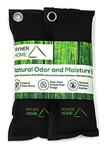 Ryher natürliches Bambus Holzkohle Schuh Deo - Verhindert Schimmel und Bakterien - absorbiert und beseitigt Geruch und Feuchtigkeit (Packung von 2) (Original)
