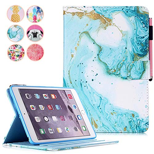 MOKASE iPad Mini 5 case, iPad Mini 1 2 3 4 Case, Flip PU Leather Wallet Case Multiple Viewing Angle Stand Smart Cute Colorful Cover for iPad Mini 1 2 3 4 5, Green Marble