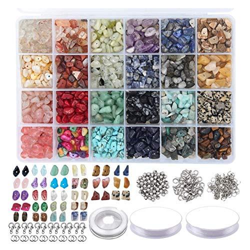 YRYPVD 1323pcs Kit de Cuentas de Piedras Preciosas Irregulares con Perlas espaciadoras Class de Langosta Anillos de Salto elásticos para Bricolaje Fabricación de joyería para Manualidades de