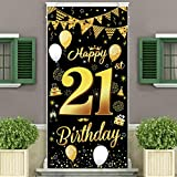 90th Birthday Party Decorations Backdrop and Door Curtain,Black Gold Birthday Decoration for Men and Women of 90th Birthday Party,Essential Decoration for 90th Birthday Party,185×90cm(72.8×35.4 inch)
