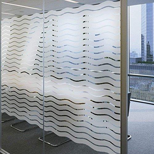 LEMON CLOUD Undurchsichtige Fensterfolie Sichtschutzfolie Elektrostatische Folie ohne Kleber für Wellenmuster des Sichtschutzbüros (60 x 200 cm)