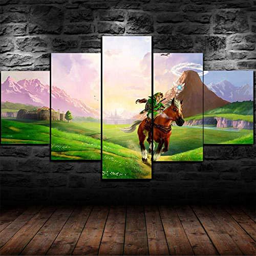 MENGLE Impresión HD Pintura 5 Piezas Cuadro En Lienzo,150X100 Cuadros Modernos Salón Decor Pared Canvas Prints Wall Art Modular Poster Mural Decorativo Juegos Paisaje Legend of Zelda Regalo Navidad