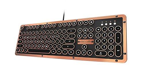 AZIO Retro Classic Artisan - Teclado mecánico retroiluminado USB Vintage (Interruptor Azul, Piel Negra, Marco de aleación de Zinc) (MK-RETRO-L-03-US)