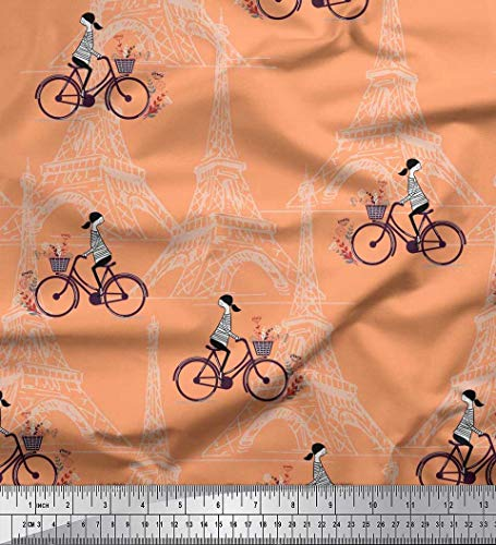 Soimoi Arancia Velluto Tessuto Ragazza, Bicicletta e Torre Eiffel architettonico Tessuto Artigianale Stampato dal Metro 58 Pollici Larghi