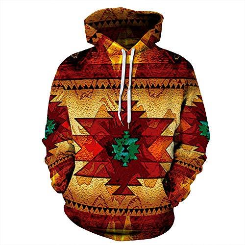 Felpa con Cappuccio Unisex Stampa Digitale 3D Costume Indiano Invernale Maglione con Cappuccio Casual da Donna alla Moda