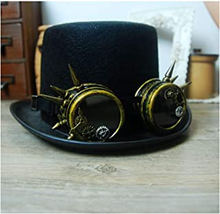 SHENTIANWEI Women Men Steampunk Top Hat with Gear Glasses Party Hat Performance Hat Accessories Hat Black Size 57CM