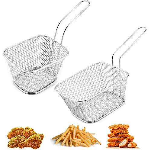 2 pcs Canasta de Papas Fritas Fry Basket Mini Cesta Herramienta de Cocción de Patatas Colador para Papas Fritas Pierna de Pollo Algunas Piezas Y Otros Fritos