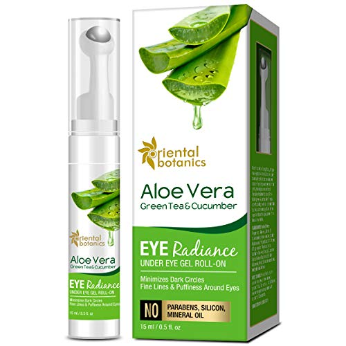 Oriental Botanics Aloe Vera, Green Tea & Cucumber Eye Radiance Under Eye Gel Roll on to Reduce Dark Circles, Puffiness and Fine Lines, 15 ml (ORBOT57)