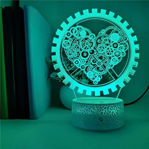 Dominante herzförmige Ausrüstung Nachtlicht 6DLED Lampe mehrfarbige kreative Dekoration kleine Tischlampe Acryl mehrfarbige Lampe rissige Basis