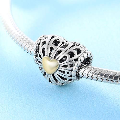 XSZPKL 925 Sterling Silber Herzförmige Hohle Goldfarbe Liebesperlen Fit Original Charm Armband Schmuck