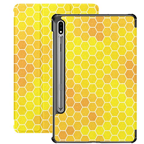 Honeycomb Monochrome Honey Tablet Fundas para Samsung Galaxy Tab S7 / s7 Plus Funda para Tableta 7 Pulgadas Fundas con contraportada para tabletas para Galaxy Tab S7 11 Pulgadas S7 Plus 12,4 Pulgadas