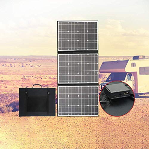 ZXWNB Solar Panel High-Power Charging Outdoor Camping Mobile Phone Notebook Power Bank Portable Folding Photovoltaic Panel 100W18V Black