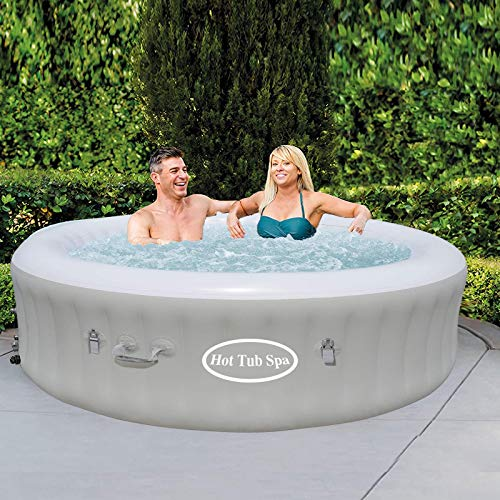 IVK Inflatable Hot Tub, Portable SPA Blow Up Hot Tub with Remote Control, 2-4 Person (Gray)