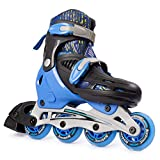 New Bounce Adjustable Inline Skates for Kids - 4 Wheel Blades Roller Skates for Boys, Girls, Teens, and Young Adults Outdoor Rollerskates for Beginners & Advanced | Blue (Large (6-9 US))