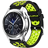 CreateGreat for Samsung Gear S3 Frontier and Classic Watch, Soft Replacement Breathable Sport Bands with Air Holes for Samsung Gear S3 Smart Watch Band(Black Green)