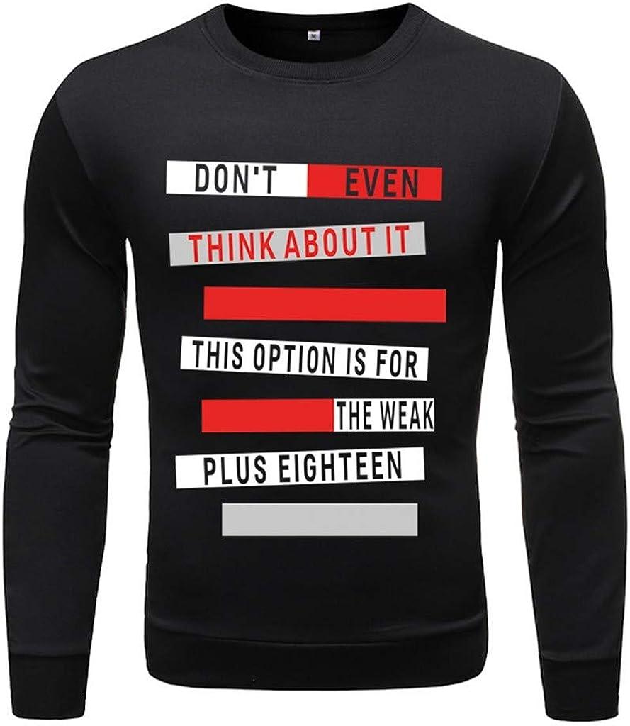 Gergeos Men's T-Shirts Fashion Long Sleeved Round Neck Print Sweatshirt Shirts Pullover