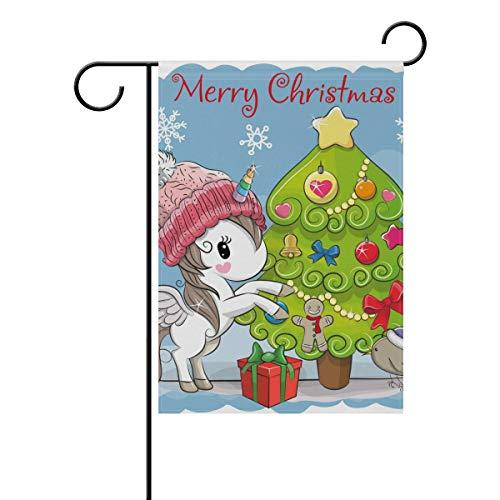 SENNSEE Merry Christmas Tree Licorne Maison Jardin Drapeau 30,5 x 45,7 cm Double Face Drapeau de la Cour pour décoration de fête Intérieur Extérieur, Polyester, Multicolore, 28x40(in)