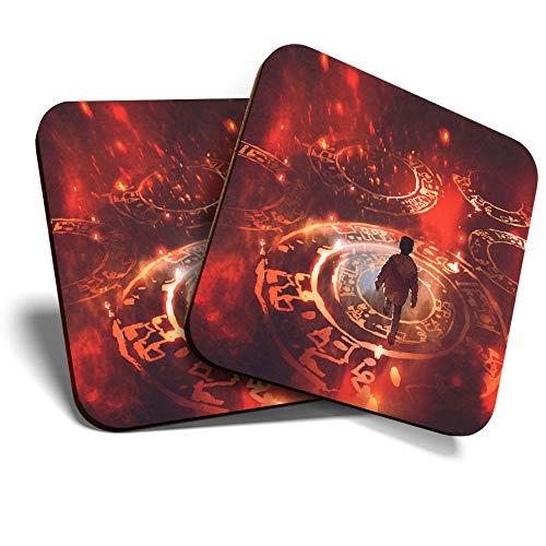 Great Coasters (Set de 2) Posavasos cuadrados/brillantes de calidad para cualquier tipo de mesa – Magical Red Puzzle Fantasy Gamer # 14086