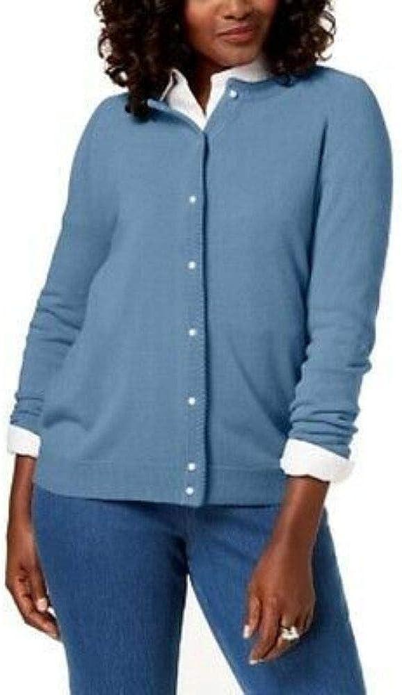 Karen Scott Womens Petite Luxsoft Button Cardigan Allure Blue P/XL