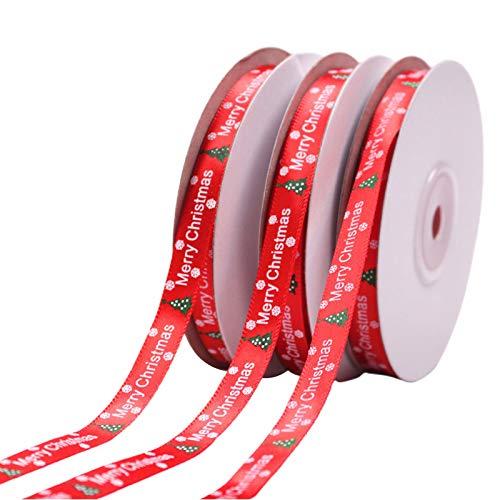 lijun 10 Rollos 25 Yardas árbol de Navidad Copo de Nieve impresión Cinta roja decoración navideña de Bricolaje