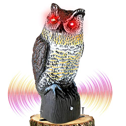 Plastic Owl to Keep Birds Away,Owl Scarecrows with Flashing Eyes&Frightening...