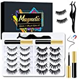 Orimi Magnetic Eyelash Kit with Eyeliner, 10 Pairs 3D Magnetic Eyelashes & 2 Tubes Magnetic Eyeliner, Reusable Faux Mink Lashes with Applicator Tool, No Glue Need & Easy to Wear