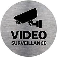 Adhésif d'Information Vidéo Surveillance - Aspect Plaque Aluminium Brossé - Diamètre 83 mm